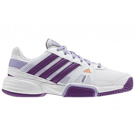 Adidas Girls Barricade Team 3 Tennis Shoes White/Purple